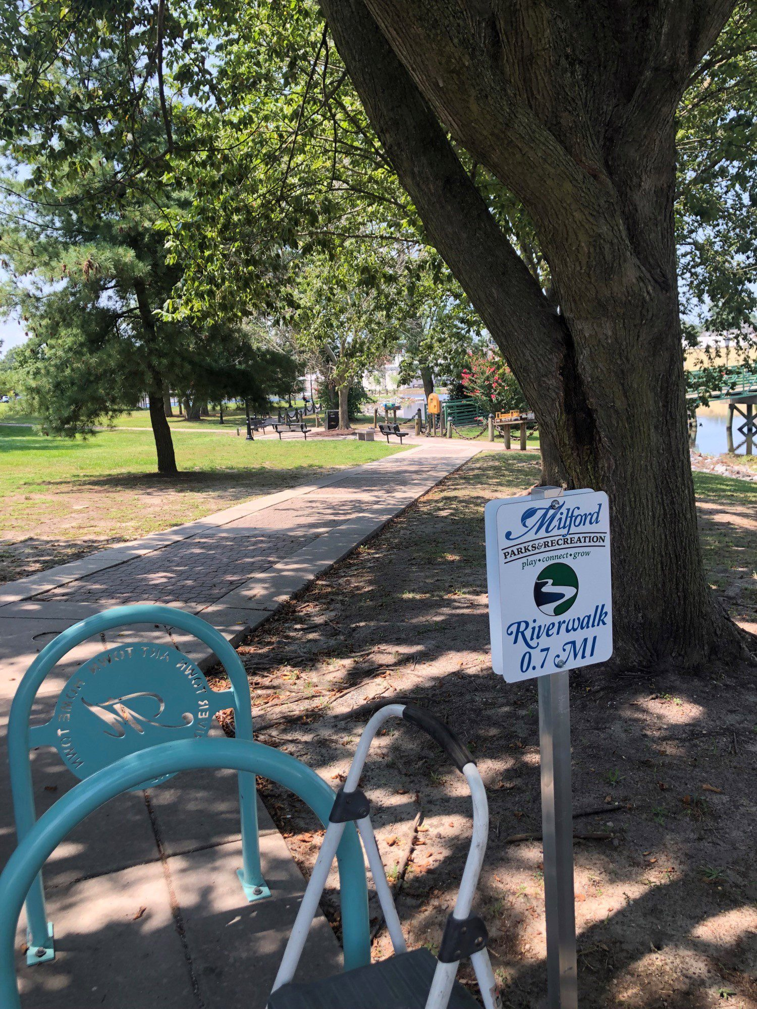 """Featured image for """"City installs mile markers on Riverwalk"""""""