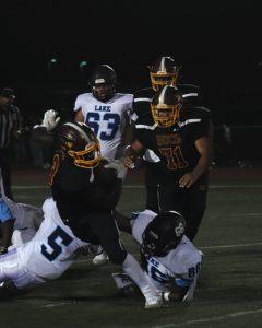 a football player wearing a helmet